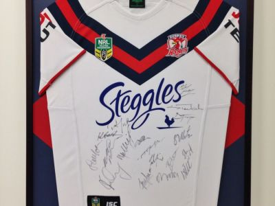 Roosters framed jersey
